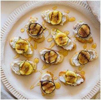Fig Hazelnut and Ricotta Crostinis