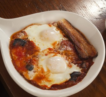 Chef Jenn Louis' Baked eggs with Tomatoes Recipe from Sunshine Tavern