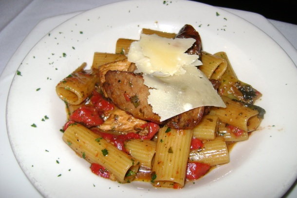 Brian Rutherford's Chicken and Italian Sausage with Rigatoni and Balsamic Recipe - Chefuniforms.com Chef of the Month May