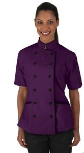Women's Tailored Chef Coat with Piping - Fabric Covered Buttons - 65/35 Poly/Cotton; Style # 86515 found on Chefuniforms.com