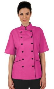 Women's Tailored Chef Coat with Piping - Fabric Covered Buttons - 100% Cotton; Style #  86315 found on Chefuniforms.com