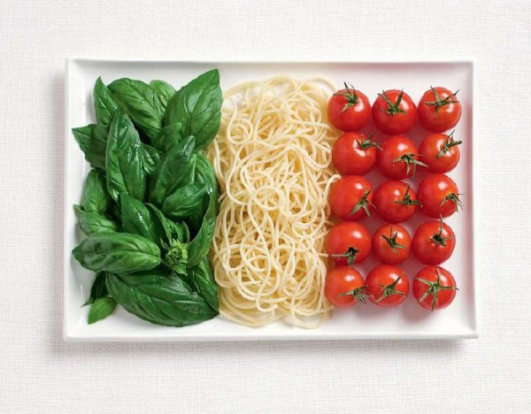 Italy's flag made out of food found on blog.chefuniforms.com