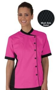 Women's Mesh Side Panel Chef Coat - Snap Front Closure - 100% Cotton Fine Line Twill