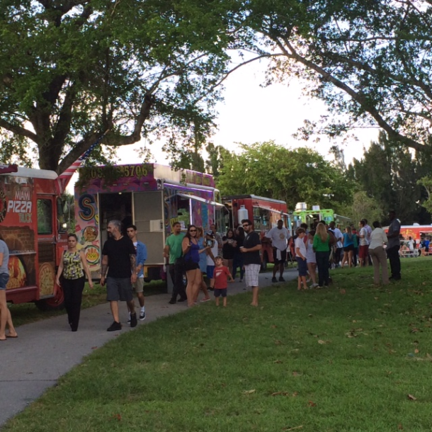 Food Truck Scene at Plantation Park, Plantation Florida found on blog.chefuniforms.com