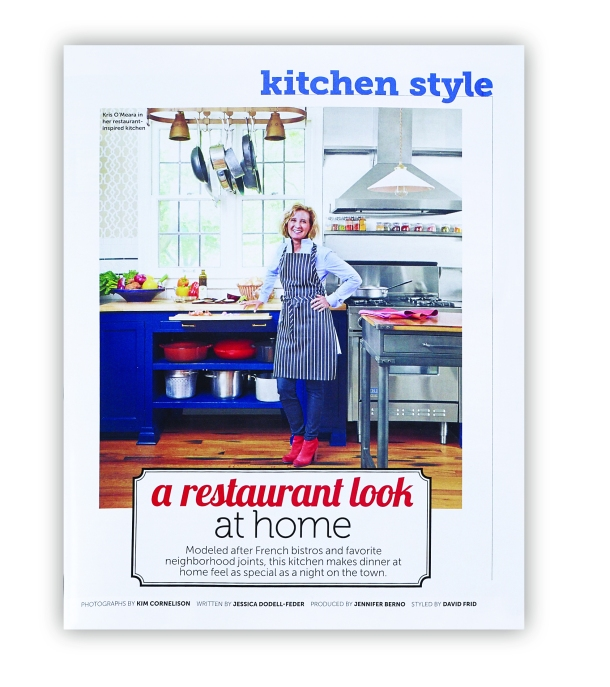 Chefuniforms.com Chef Adjustable Bib Apron - Chalk Stripe Black featured in HGTV Magazine November 2014 Page 123