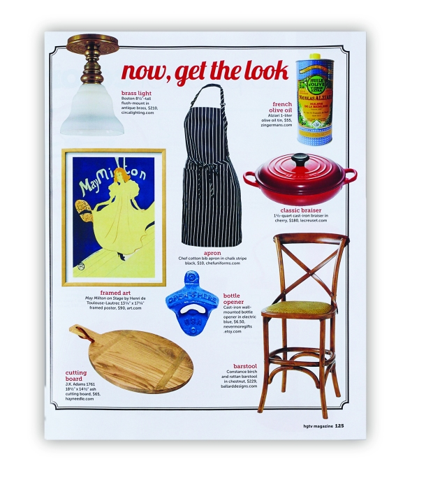 Chefuniforms.com Chef Adjustable Bib Apron - Chalk Stripe Black featured in HGTV Magazine November 2014 Page 125