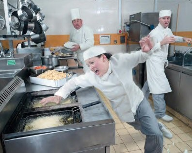 It's All Fun and Games until Someone Takes a Fryer to the Face found on blog.chefuniforms.com