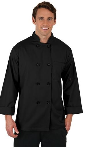 ChefUniforms.com - Men's Basic Fit TALL Chef Coat in Black - Plastic Buttons - 65 35 Poly Cotton - Style # T65511