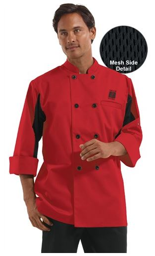 ChefUniforms.com Men's Double Breasted Chef Coat with Mesh in True Red w Black - Plastic Buttons - 65 35 Poly Cotton