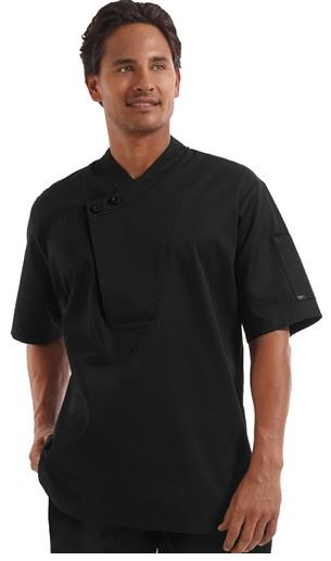 ChefUniforms.com - Men's Traditional Fit Pullover Chef Coat in Black - Plastic Buttons - 65 35 Poly Cotton