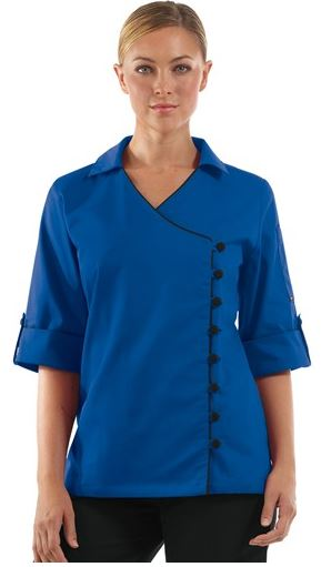 Chefuniforms.com New Female Chef Coat - Women's Asymmetrical 3 Three Quarter Sleeve Chef Coat in Ocean Blue w Black - Fabric Covered Buttons - 6535 PolyCotton