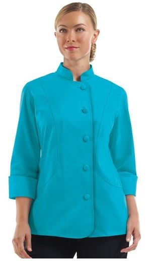 Chefuniforms.com New Female Chef Coat - Women's STRETCH Princess Seam Chef Coat in Turquoise - Fabric Covered Buttons - 55 42 3 Cotton Poly Spandex