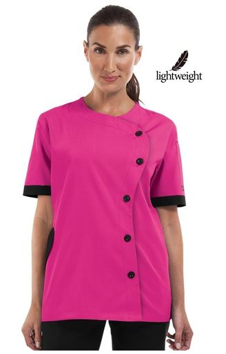 Chefuniforms.com New Chef Coat - Women's Traditional Fit S-Shaped Chef Coat in Fuchsia w Black - Plastic Buttons - 6535 PolyCotton Poplin