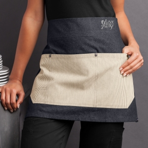 Industry Line Unisex Waist Premium Denim Apron with Contrast Pockets and Faux Leather Straps