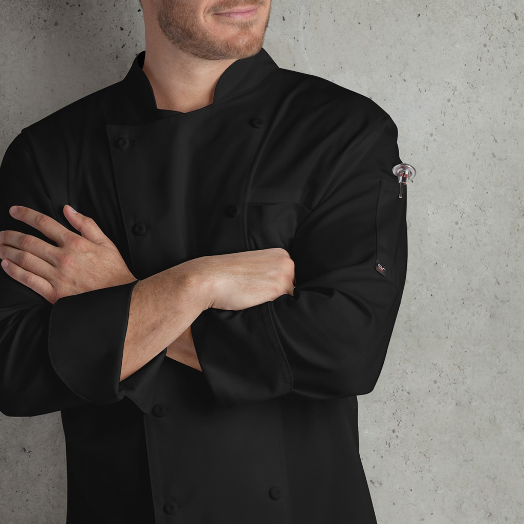 Men's Double Breasted Long Sleeves Chef Coat - Fabric Covered Buttons and -MESH- Back Panels