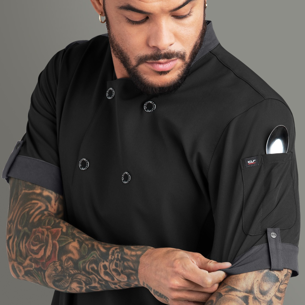 NEW PERFORMANCE FABRIC - Men's Snap Closure Chef Coat - Poly/Spandex STRETCH