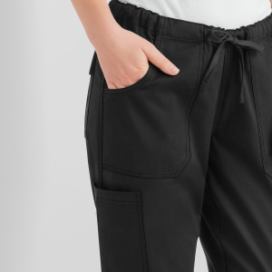 Women's Drawstring STRETCH Chef Pants - Black