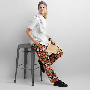 Women's Garden Medley Black Chef Pants